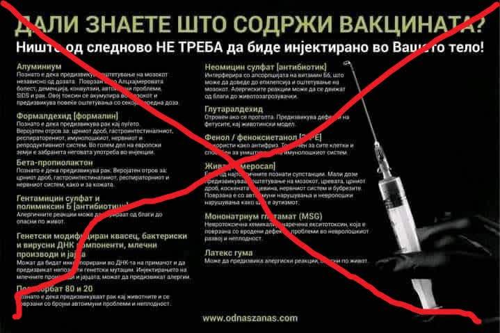 Во вакцините против ковид 19 нема графен оксид, луцифераза или спајк протеин